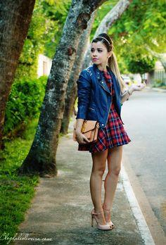 Blog da Lê-Moda e Estílo: No look xadrez azul e vermelho