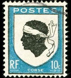 Photo about Vintage postage stamp with Corsica national emblem of a Moorish head. Image of object, blue, isolated - 8017511 Moorish, Postage Stamps, Animals And Pets, First Love, France, Baseball Cards, Vintage, Destinations, Football