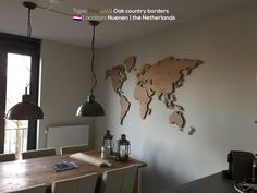 MapaWall wooden world map Oak