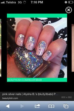 Every girl loves glitter! Every Girl, Class Ring, Glitter, Nails, Beauty, Jewelry, Beleza, Jewellery Making, Ongles
