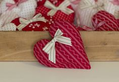 DIY Adorable Fabric Hearts for Valentines Day...link to pattern below pics in red. These are so sweet!