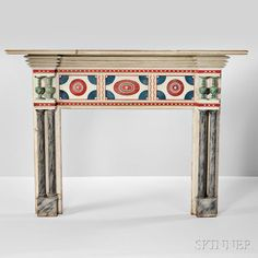 Carved and Polychrome Painted and Marblized Mantelpiece. | Auction 2922M | Lot 715 | Estimate $2,000-3,000