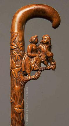 Exceptionnelle canne art populaire monoxyle représentant un jeune couple et du lierre - Symboles de l'amour et de l'éternité - Début XIXème siècle.