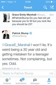 Patrick Stump replied to my tweet last night :)