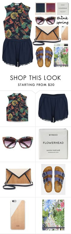"""""""Think Tropical"""" by stavrolga on Polyvore featuring MANGO, VILA, River Island, Byredo, Pelcor, Birkenstock, Native Union, Christian Lacroix, Dolce&Gabbana and tropical"""