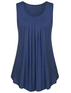 Gamiss Basic Top Sleeveless Shirt Pleated Loose Casual Tank Top For Ladies #tankstopforwomen