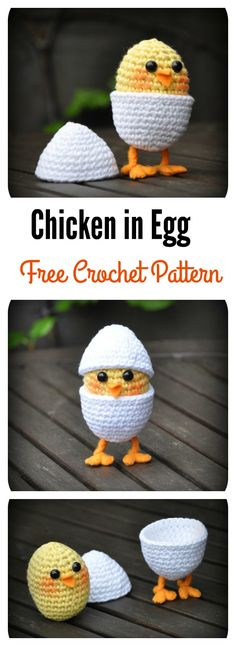Crochet Amigurumi Patterns Chicken in Egg Free Crochet Pattern - My daughter loves baby chicks. Do you kids love them too? You can use these Adorable Free Chick Crochet Patterns to make some for your loved little ones. Crochet Food, Knit Or Crochet, Crochet Gifts, Cute Crochet, Crochet Cupcake, Easter Crochet Patterns, Crochet Patterns Amigurumi, Crochet Dolls, Knitted Dolls