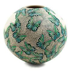 Cindy Perez: Butterflies Olla | Sandia Folk Roseville Pottery, Ceramic Pottery, Pottery Art, Pottery Painting, Ceramic Painting, Ceramic Art, Decorative Gourds, Southwestern Art, Native American Pottery