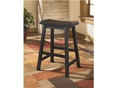 """Shop for Ashley Stool (2/CN), D202-124, and other Bar and Game Room Stools at Art Sample Home in Saginaw, MI. With the rich dark finish and straight-lines contemporary design, the """"Conrad"""" counter height table offers a sophisticated look that is sure to perfectly accent the style of any dining room decor."""