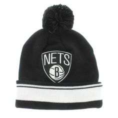Brooklyn Nets Nba Team Colors The Cuffed Pom Knit Beanie By Mitchell And Ness