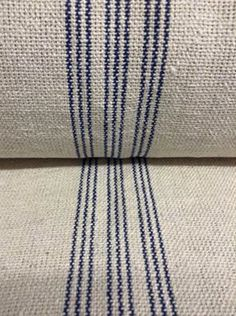 French Grain Sack Fabric By The Yard - 9 Blue Stripe BACK ORDERED 6-1-16
