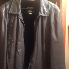 Leather jacket Grayish leather jacket with thick removal inside lining as seen in picture 3. Unsure about the size would guess a small/medium. Jackets & Coats