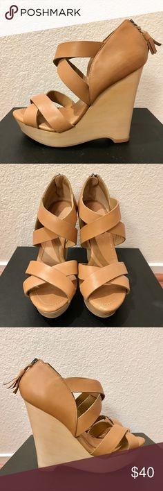 """NEW True Religion Tan Leather Wooden Wedges Sz 8 Brand new, never worn True Religion Tan Leather Wooden Wedges. Super lightweight, comfortable, and easy to walk in. Tassel detail on Zipper. Sz 8 - fits true to size. Heel height 5"""" with 1"""" platform. Does not come with box. True Religion Shoes Wedges"""