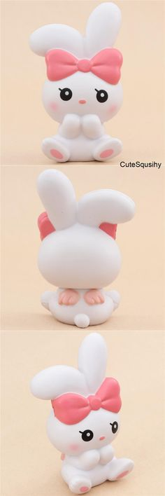 Kawaii white rabbit with pink bow squishy!