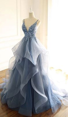 Ruffle prom dress - Blue Gray Tulle V Neck Long Ruffles Prom Dress, Lace Evening Dress from Sweetheart Dress – Ruffle prom dress Pretty Prom Dresses, Hoco Dresses, Ball Dresses, Ball Gowns, Formal Dresses, Dress Prom, School Dance Dresses, Straps Prom Dresses, Cheap Prom Dresses