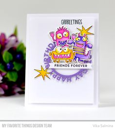 Stamps: Monster Sized, From the Heart Die-namics: Monster Sized, Happy Birthday Circle Frame, Hearts in a Row - Vertical  Vika Salmina #mftstamps