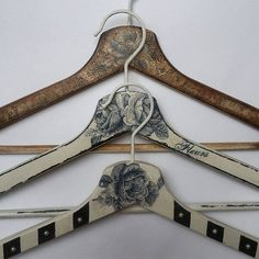 3 Handmade hangers by OldCraftStories on Etsy
