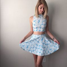 Baby Blue and White Daisy Two Piece Skirt Set Baby Blue and White Daisy Two Piece Skirt Set. Size small. Moon Collection Dresses Mini