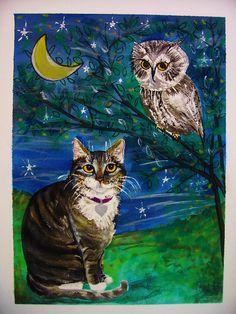 Night Owl, Watercolor Gouache, Jane Pompilio George