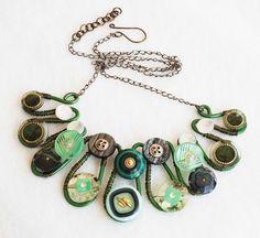 Wire Wrap Button Necklace OOAK Stylish Unique Handmade - Green Series #Jeanninehandmade #Wrap