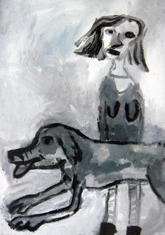 Girl and Her Dog acrylic on board by Gary Goodman