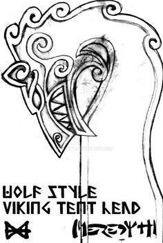 Viking Tent Wolf Head Design by Meredyth