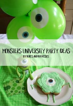Do your kids love Monsters, Inc and Monsters University? Have a fun family night with a Mike Wazowski cupcake cake and balloons!
