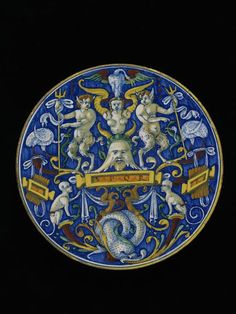 Plate  Cafaggiolo, Italy, ca. 1515  attributed to the workshop of Maestro Jacopo   Tin-glazed earthenware  D. 25 cm  Victoria & Albert Museum, C.2152-1910