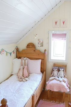 Adorable girls bedroom with crocheted coverlet
