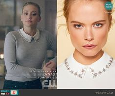 Ted Baker Collar worn by Betty Cooper (Lili Reinhart) on Riverdale Betty Cooper Style, Betty Cooper Outfits, Veronica Lodge Fashion, Pll Outfits, Office Outfits, Betty Cooper Riverdale, Riverdale Fashion, Cute Outfits For School, Collar Designs