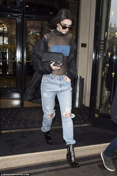 Kendall Jenner nails casual chic in mesh leotard at Paris Fashion Week #dailymail