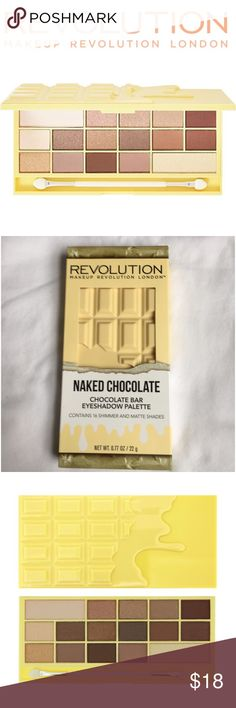 """Makeup Revolution Naked Chocolate Palette ▪Price includes selling fees▪ 🔹Save by Bundling or Visiting my Website🔹 📌Read my Listing with """"Buying Policies"""" BEFORE purchasing items📌 🚫Holds, Trades, & Low-Ballers Will Be Blocked🚫  💥PLEASE REMEMBER Posh takes $4 for fees and there is no sales tax on here. To pay less, visit my site💥  🍫 Makeup Revolution London 🍫 Naked Chocolate Eyeshadow Palette 🍫16 Shades (Matte & Shimmer) Mirror 🍫 Shaped like a Yellow Chocolate Bar Sephora Makeup…"""