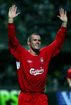 Jamie Carragher of Liverpool celebrates his goal during the UEFA Champions League second qualifying round first leg match between FBK Kaunas and...