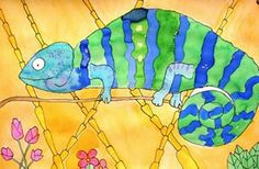 "Deep Space Sparkle - ""After a trip to the library, I was inspired by the book Chameleons are Cool illustrated by Sue Shields. I love her use of color and large shapes plus the abundance of watercolor techniques on each page."""