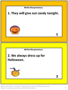 Pronouns and Halloween are the focus of these 24 Language Arts task cards. There is a sentence with a pronoun on each task card. Students are to write the pronoun from each sentence on the provided Pronouns response form. A Pronouns Halloween answer key is given for the teacher.