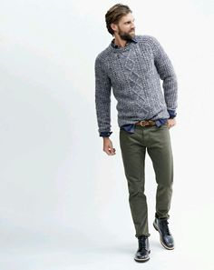 For an everyday outfit that is full of character and personality go for a grey knit pullover and olive green chinos. A cool pair of black leather boots is an easy way to upgrade your look. Shop this look for $154: http://lookastic.com/men/looks/cable-sweater-longsleeve-shirt-belt-chinos-boots/7030 — Grey Cable Sweater — Navy Plaid Long Sleeve Shirt — Brown Leather Belt — Olive Chinos — Black Leather Boots