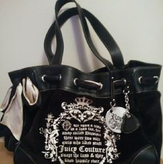 Authentic Juicy Couture Royal Juicy Bag Like new barely ever used Cream and black ribbon woven through top Magnetic snap on top Brown interior with inside zippered pocket Phone pocket on side of bag Juicy Couture Bags Shoulder Bags