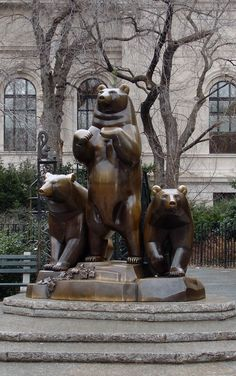 A group of three bear, the bronze sculpture by Paul Manship. Central Park, New York, New York.