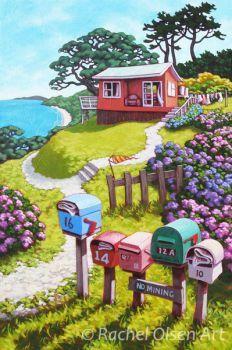 Rachel Olsen Artist - buy Original New Zealand Art Nz Art, Art For Art Sake, New Zealand Art, Naive, Art Folder, Kiwiana, Marker Art, Beach Art, Easy Watercolor