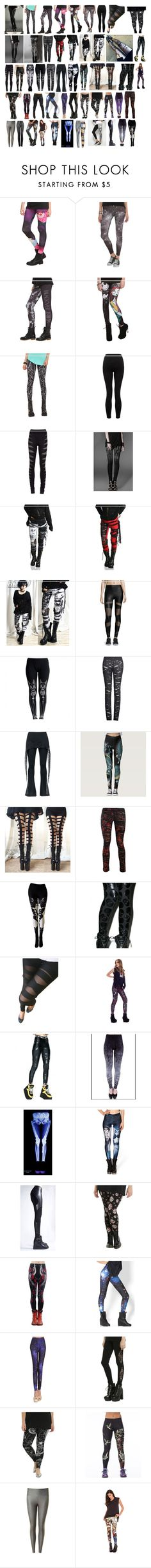 """""""Lanya's Leggings"""" by switchback13 on Polyvore featuring Hot Topic, Lipsy, Rick Owens, Onzie, Killstar, Versace, BADINKA, WithChic and Tiny Fish"""