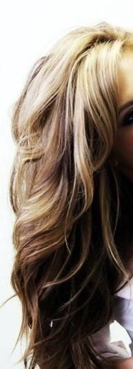 Brown and blonde hair with big curls
