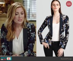 Maura's black and blue floral print peplum blazer on Rizzoli and Isles.  Outfit Details: http://wornontv.net/45868/ #RizzoliandIsles