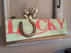 Benutzerdefinierte Holz-Schild, Lucky horseshoe, Lucky Sign, Cowgirl Dekor, Western Thema Schilder, Türkis rustikale Wand hängen, Wester-Dekor, Cowgirl Zeichen