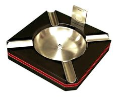Prestige Import Group Black Leather Trim Ashtray With Cutter
