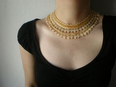 Allure - Gold - Ivory ... Beaded Crochet Necklace by irregularexpressions on Etsy