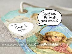 Vintage gift tags Digital collage sheet - Instant printable download / Best for paper craft, scrapbooking - ANGELS #tag, #printable, #angel, #vintage, #scrapbooking, #custom, #gift