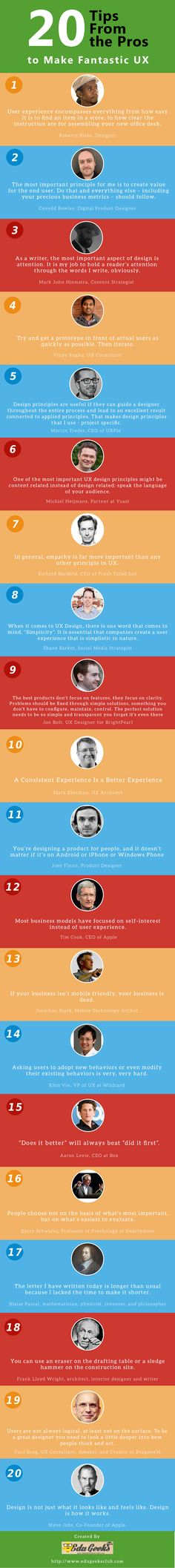 20 Tips from the Pros to Make Fantastic User Experience [Infographic]