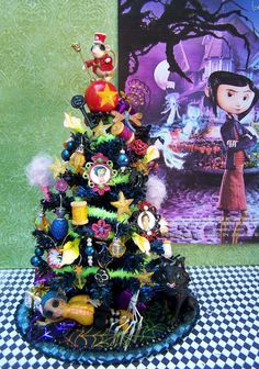 Image detail for -dollhouse miniature coraline-themed tree - Coraline Photo . Halloween Trees, Holidays Halloween, Scary Halloween, Halloween Decorations, Coraline Art, Coraline Jones, Coraline Aesthetic, Disney Ornaments, Sparks Joy