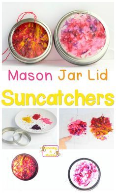 Use those leftover Mason jar lids to make these super-simple suncatcher Mason jar lid crafts that are the perfect craft project for any time of year! Jar Lid Crafts, Mason Jar Crafts, Chalk Paint Mason Jars, Painted Mason Jars, Super Simple, Lifehacks, Crayons Fondus, Mason Jar Flowers, Diy Flowers