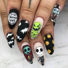 nightmare before christmas, jack skellington and sally, worm's wort, cute fall nails, almond nails